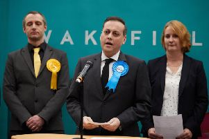 Imran Ahmad Khan, giving his winner's speech as the new MP for Wakefield. Photo: JPI Media