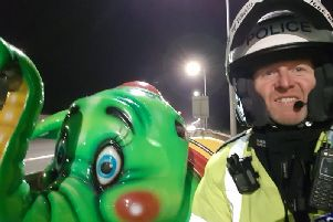 Motorway Martin found the bright green flying elephant on the M62 (Photo: @WYP_PCWILLIS)