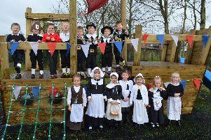 Pupils from Ranskill Primary School dressed as pilgrims on the new playship