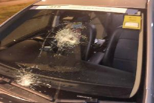 This taxi was pelted with missiles in Leeds in October.