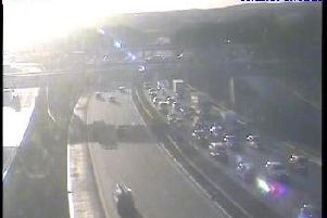 More than nine miles of traffic has been reported on the M1 at Wakefield this morning after a multi-vehicle collision. Photo: Highways England.
