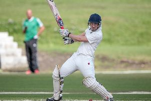 Harrogate CC captain George Ross hits out. Picture: Caught Light Photography