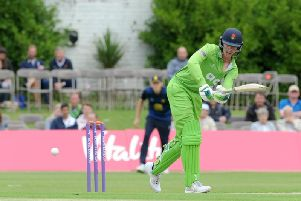Keaton Jennings bats for Lancashire at Stanley Park in the Royal London One Day Cup last season.