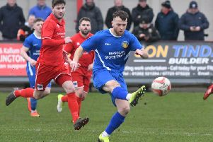 Fatlum Ibrahimi looks to get Harrogate Railway moving forward during Saturday's clash with Bridlington Town. Pictures: Dom Taylor