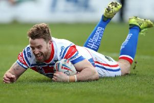 Danny Kirmond shows his delight as he crosses for the first try of the day during his testimonial. PIC: John Clifton.