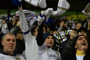 Leeds United fans show their support against Derby County.