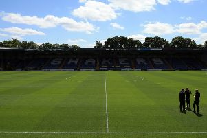 BURY, ENGLAND - JULY 16:  A general view of Gigg Lane during the pre season friendly game between Bury and Huddersfield Town at Gigg Lane on July 16, 2017 in Bury, England. (Photo by Clint Hughes/Getty Images)