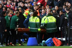 Leeds United's Jack Clarke is taken ill during the game at Middlesbrough. Picture: Jonathan Gawthorpe