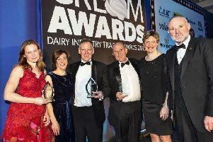 St Helen's Farm's Paul Dunlea (fourth from left) celebrates the company's win with other dairy businesses.