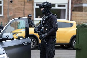 Armed police in South Shields this morning.