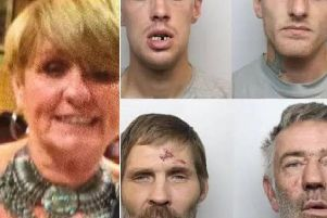 Jacqueline Wileman (left) and the four defendants. Pictured top left Karn Hill, Wayne Carroll, bottom left, Alan Wawhinney, David Mellor.