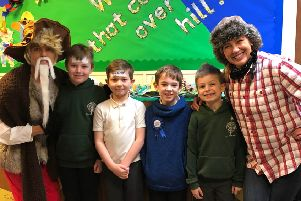 Year 3 pupils and their teachers Mrs Cowey and Mrs Dale enjoy Oracy Week at Abbeyfields School