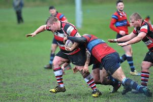 Durham and Northumberland Rugby between Gateshead RFC (red/blue) and Hartlepool Rovers, played Eastwood Gardens, Low Fell.