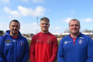 Oliver Greensmith (centre) with Chris Chester (left) and Mike Applegarth (right).