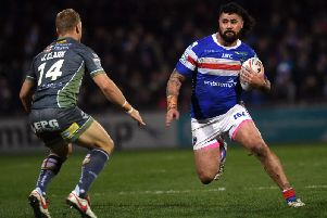 Wakefield Trinity's David Fifita on the charge against Warrington. (PIC: JOHNATHAN GAWTHORPE)