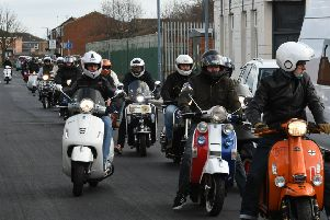 Members of Hartlepool Scooter Club arriving at the Hartlepool Music Weekender/March of the Mods at the Corporation Sports and Social Club, on Saturday.