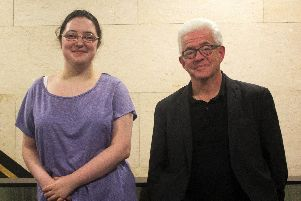 New Barnsley Poet Laureate Eloise Unerman with Ian McMillan