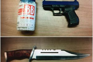 The BB gun and knife were found on the driver.