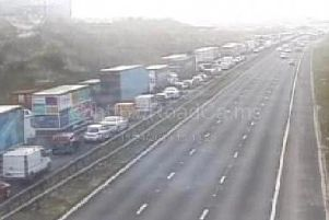 All lanes have been re-opened but traffic is slow.