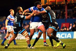 David Fifita in powerhouse action against Huddersfield Giants.  PIC: Bruce Rollinson