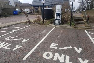 An electric vehicle charging point in the Greenwell Lane car park in Alnwick.