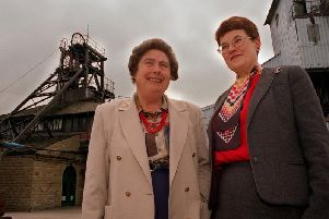 Baroness Lockwood and Dr Margaret Faull, a former museum director, at the then Yorkshire Mining Museum.