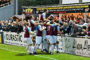 South Shields FC celebrate with fans after another dramatic night at Mariners Park. Picture via Kevin Wilson.