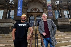 Green party candidate Magid Magid and party leader Jonathan Bartley pictured in Leeds. Pic: Simon Hulme