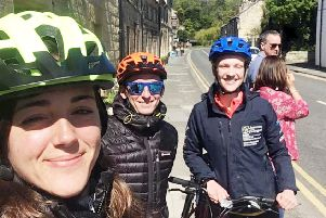 Some of the cycling challenge participants on their training ride. At the front is Anna Bruguera Sala with Max Ling behind and Eilidh Batchelor to the right hand side.
