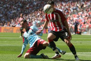 Chris McCann in action for the Clarets against Sheffield United at Wembley