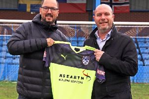 Chief executive Phil Smith (left) and sponsor Darren Griffiths from RS Earth Building Services.
