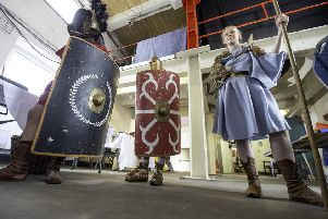 Picture by Allan McKenzie/YWNG - 01/06/19 - Press - Castleford Roman Day, Castleford, England - Period costumes on show for visitors.