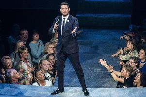 Michael Buble took to the stage at Leeds Arena. (picture Anthony Longstaff)