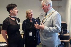 Carole Williams and Annette Jones, from ECHO, received a 'thank you' visit from Wakefield's new mayor.