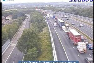 Two miles of traffic has already built up following a multi-vehicle collision on the M1 near Wakefield. Picture: Highways England.