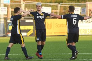 Benn Lewis celebrates scoring the Bridlington goal at Boro on Tuesday