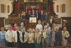 Rev Michael Storr (front, fourth right) celebrates 60 years as organist and choirmaster at  Chorley United Reformed Church