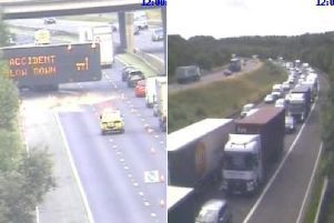 The crash is causing long delays on the M1 northbound