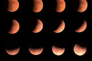 The partial eclipse of the Moon, photographed by Lancashire astronomer Len Adam