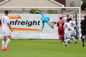 Action from Belper Town's game against Portadown (Pic: David McGuiness)