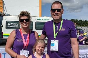 Holly is pictured with parents Natalie and Chris at the British Transplant Games last month.