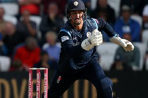 LEEDS, ENGLAND - AUGUST 11: Jack Leaning of Yorkshire Vikings bats with Daryn Smit of Derbyshire Falcons fielding during the Vitality Blast match between Yorkshire Vikings and Derbyshire Falcons at Emerald Headingley Stadium on August 11, 2019 in Leeds, England. (Photo by Jan Kruger/Getty Images)