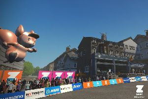 A digital visualisation of part of the finishing course in Harrogate, including the Zwift Draft House and Cold Bath Brewing Co on Kings Road, during the UCI Road World Championships.