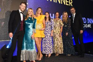 Cartford Inn in Little Eccleston won the Best inn at the Great British Pub Awards.  left to right Nicholas Robinson Morning advertiser managing Editor, Jeanicia Beaume Manager, Eleonor Lees Restaurant supervisor, Rachael Nixon office manager, Julie Beaume Owner/ Director, Tanicia Hayton Niece and on site Jewellery artist, Hugh Dennis comedian.