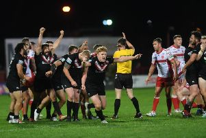 London Broncos players start celebrations at the final whistle after beating Hull KR. (PIC: JONATHAN GAWTHORPE)