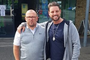 Head of Golf at Darwin Escapes Ashley Pheasant with Irish singer and actor Keith Duffy.
