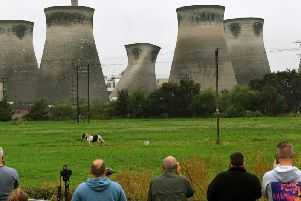 The demolition of the first cooling tower at the former coal-fired Ferrybridge Power Station in West Yorkshire in July Picture Jonathan Gawthorpe