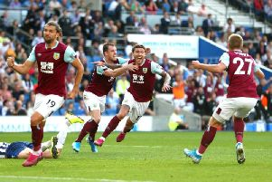 Burnley midfielder Jeff Hendrick scores the equaliser against Brighton at the Amex Stadium