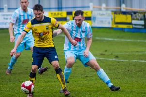 Action from Tadcaster Albion's home clash with Atherton Collieries. Picture: Matthew Appleby