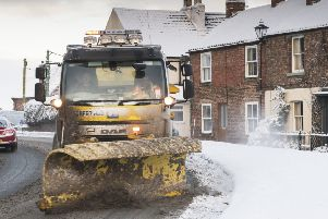 One of the NYCC's 86 gritting vehicles pictured in action last month.